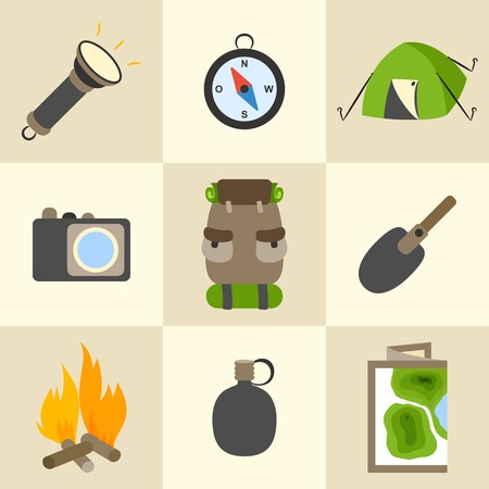 Outdoors tourism camping colorful icons set of compass map tent and backpack isolated illustration Vector
