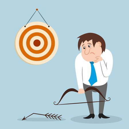 penniless: Businessman unhappy with broken arrow missed target or goal isolated illustration