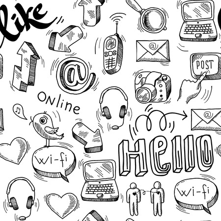 Seamless doodle social media pattern background illustration Vector