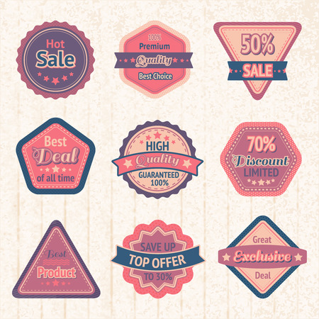 Vintage sale labels and badges set on cardboard for best price high quality and exclusive deal illustration Vector