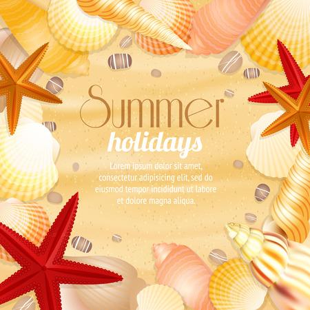 Vacanze estive sfondo di viaggio vacanza inserzionista con conchiglie spiaggia di sabbia e stelle marine illustrazione Archivio Fotografico - 26701700