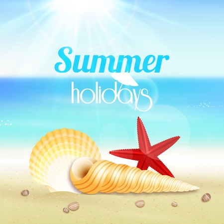footprints in sand: Summer holiday vacation travel background poster with seascape starfish and seashells vector illustration