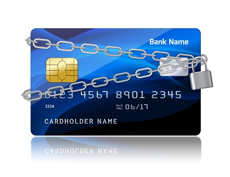 plastic card: Payment security of credit card with chip protection concept isolated illustration