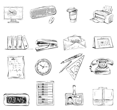 Business office stationery supplies icons set of computer keyboard printer and phone isolated sketch vector illustration Vector
