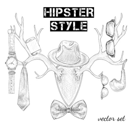 Hand drawn hipster style accessory set on antlers isolated sketch illustration Vector