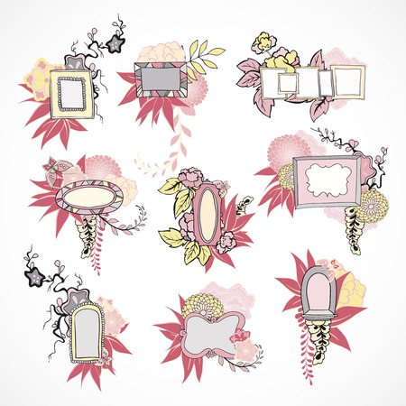 Floral decorative pastel colors doodle frames set isolated illustration Vector