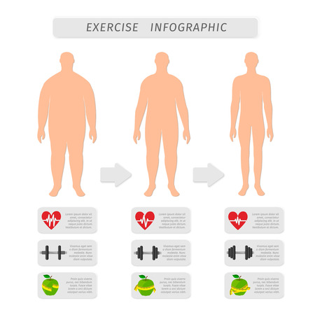 weight loss man: Fitness exercise progress infographic design elements set of heart rate strength and slimness man silhouette isolated illustration