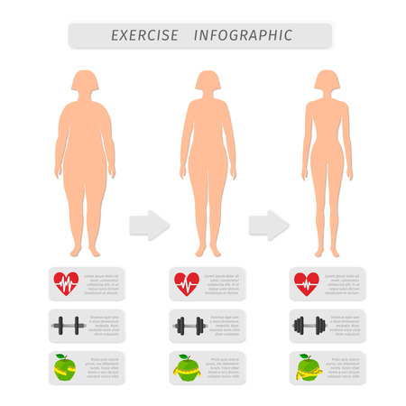 Fitness exercise progress infographic design elements set of heart rate strength and slimness woman silhouette isolated illustration Vector