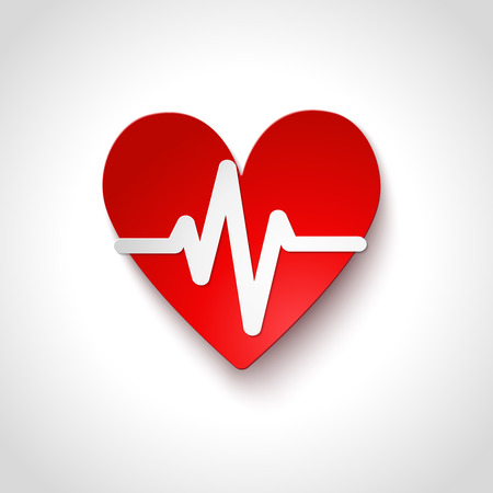 heart rate: Heart rate emblem icon isolated vector illustration