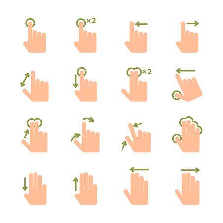 swipe: Touch screen hand gestures icons set of swipe pinch and tap isolated illustration
