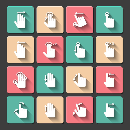 swipe: Touch screen hand gestures design elements for mobile user interface isolated illustration