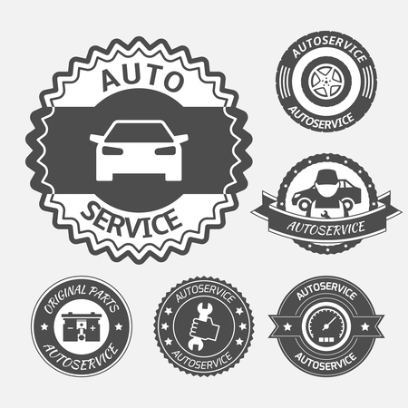 Car auto service labels badges emblems set isolated illustration Vector
