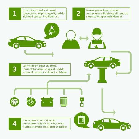Car Auto Service disposizione infografica Brochure design modello con icone e frecce illustrazione Archivio Fotografico - 26701808