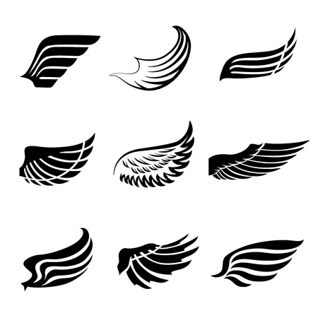 wings bird: Abstract feather angel or bird wings icons set isolated illustration Illustration