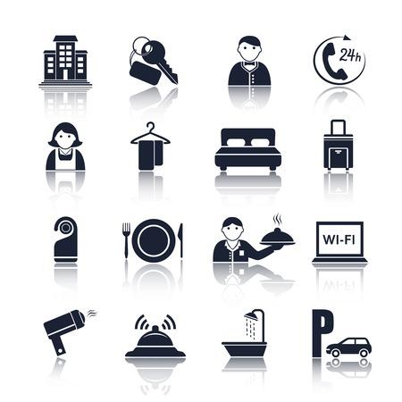 Hébergement à l'hôtel de Voyage pictogrammes noirs ensemble de femme de service d'étage et la réception illustration vectorielle isolé Vecteurs