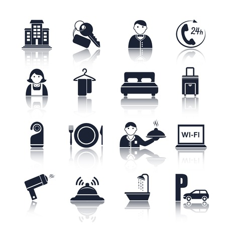 lodgings: Hotel travel accommodation black pictograms set of room service maid and reception isolated vector illustration