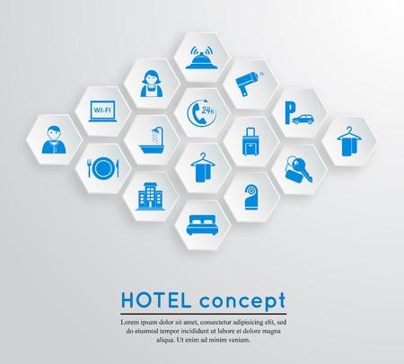 receptionists: Hotel travel accommodation emblem concept with icons blue on white hexagonal shape set isolated  illustration