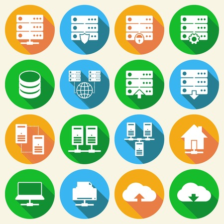 Online internet hosting technology icons set of network server infrastructure data center services isolated hand drawn sketch illustration