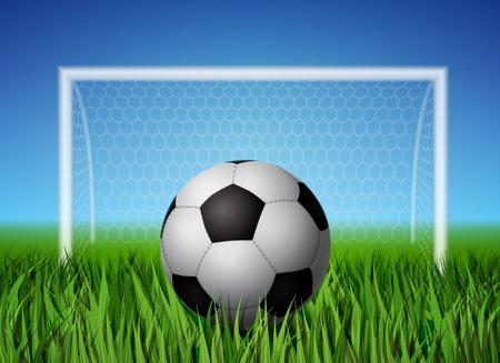 speelveld gras: Realistisch voetbal bal en gras veld met hekken voor voetbal achtergrond poster template afbeelding