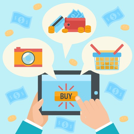 Business hand making internet purchase in online shop using mobile tablet concept illustration Vector