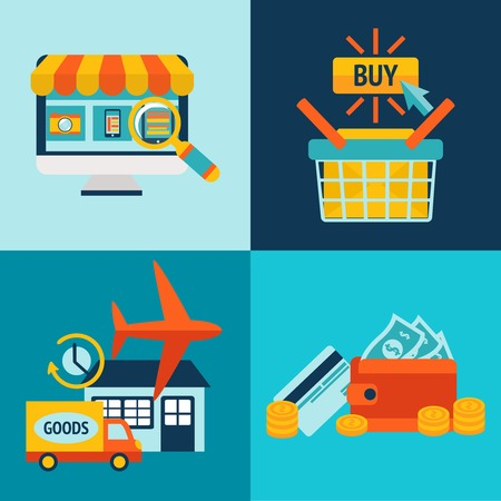 Online shopping business icons set of internet catalog purchase and delivery service illustration Vector