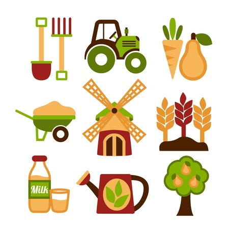 Farming harvesting and agriculture icons set of natural organic fruits and vegetables isolated illustration Vector