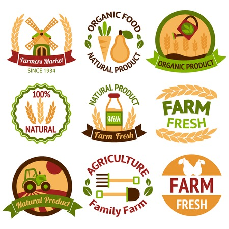 Farming harvesting and agriculture badges or labels set on white background isolated illustration Vector