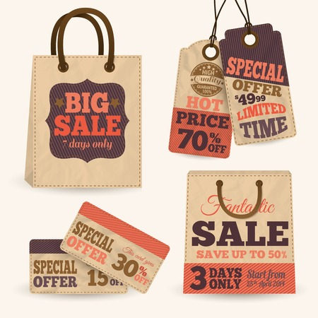 Collection of paper sale price tags with shopping bags design templates illustration Illustration