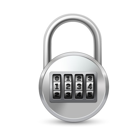 passcode: Realistic lock with combination password code icon isolated vector illustration Illustration