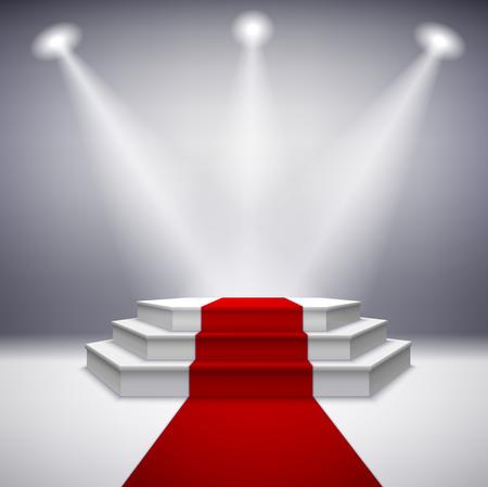 feier: Beleuchtete Bühne Podium mit rotem Teppich für Preisverleihung Illustration