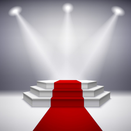 red competition: Illuminated stage podium with red carpet for award ceremony illustration