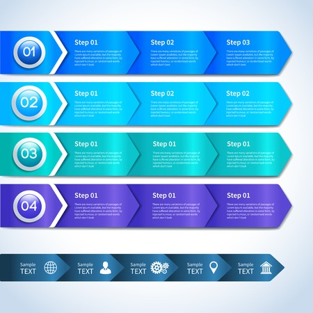 phases: Abstract paper business infographics layout design elements for options stages phases and progress with icons vector illustration