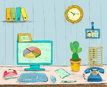 Business workplace office interior desk with computer cactus phone files and documents hand drawn isolated illustration sketch Vector