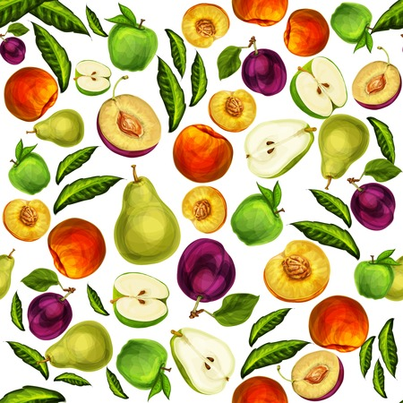 half apple: Seamless mixed ripe juicy sliced fruits pattern background with apple plum peach and pear hand drawn sketch illustration