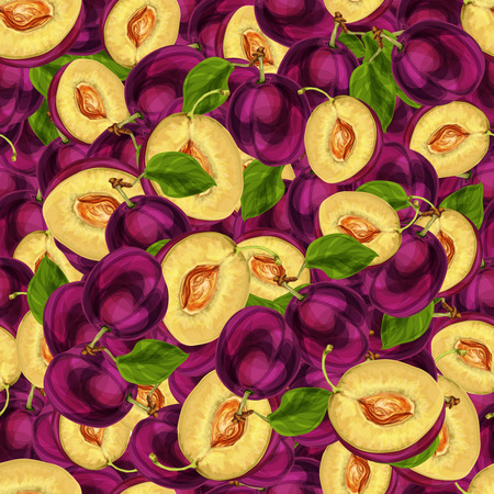 passion ecology: Seamless plum fruit sliced in half with seed leaves and juicy meat pattern hand drawn sketch illustration