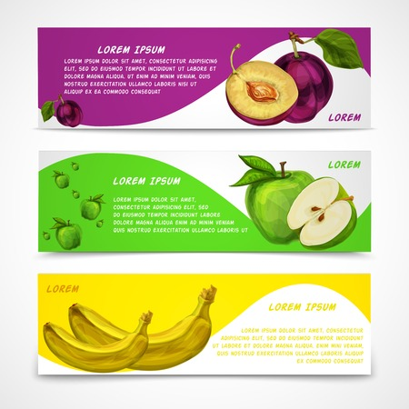 mixed fruits: Mixed natural organic sweet fruits banners collection of apple plum and banana for cafe dessert menu design template illustration