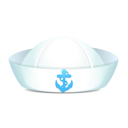 sailor hat: Peaked sailor hat with blue anchor on white background isolated illustration Illustration