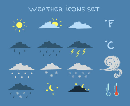 clear sky: Weather forecast icons set of clouds clear sky and lightning illustration Illustration