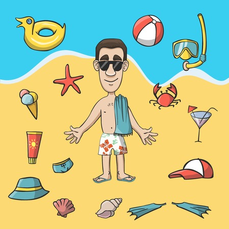 Vacation travel character on the beach illustration Vector