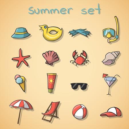 여름 휴가 여행 아이콘 격리 된 그림을 설정
