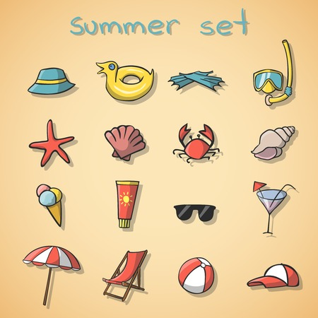 Summer vacation travel icons set isolated illustration