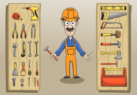 construction worker cartoon: Construction worker character pack with engineering tools and equipment illustration