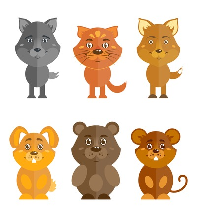 domestic animal: Wild and domestic animal cartoon characters icons set of wolf cat fox and bear isolated illustration