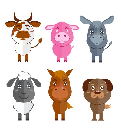 domestic animal: Wild and domestic animal cartoon characters icons set of cow donkey sheep and horse isolated illustration Illustration