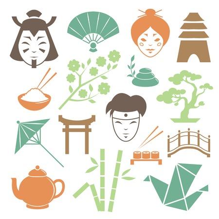 Illustration des �l�ments de conception de la culture japonaise collection de samoura� geisha et des objets traditionnels isol�