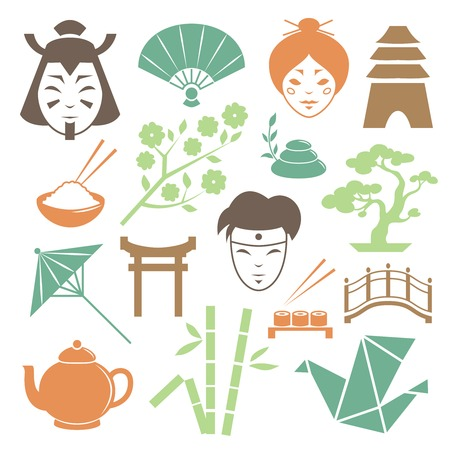 Japanese culture design elements collection of samurai geisha and traditional items isolated illustration Vector
