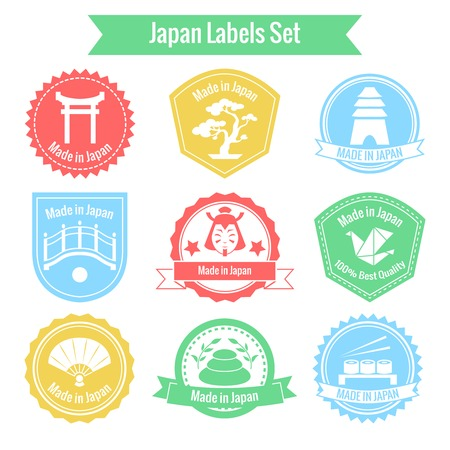 Made in Japan labels or badges set isolated illustration Vector