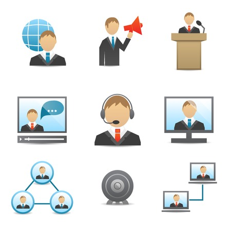 users video: Business people meeting online and offline conference speech and presentation icons set isolated illustration