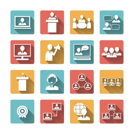 Business people meeting online and offline conference discussion and brainstorming icons set isolated illustration Vector