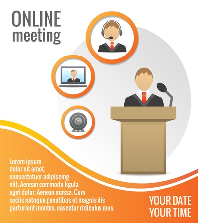 Business people meeting poster or print layout template illustration Vector